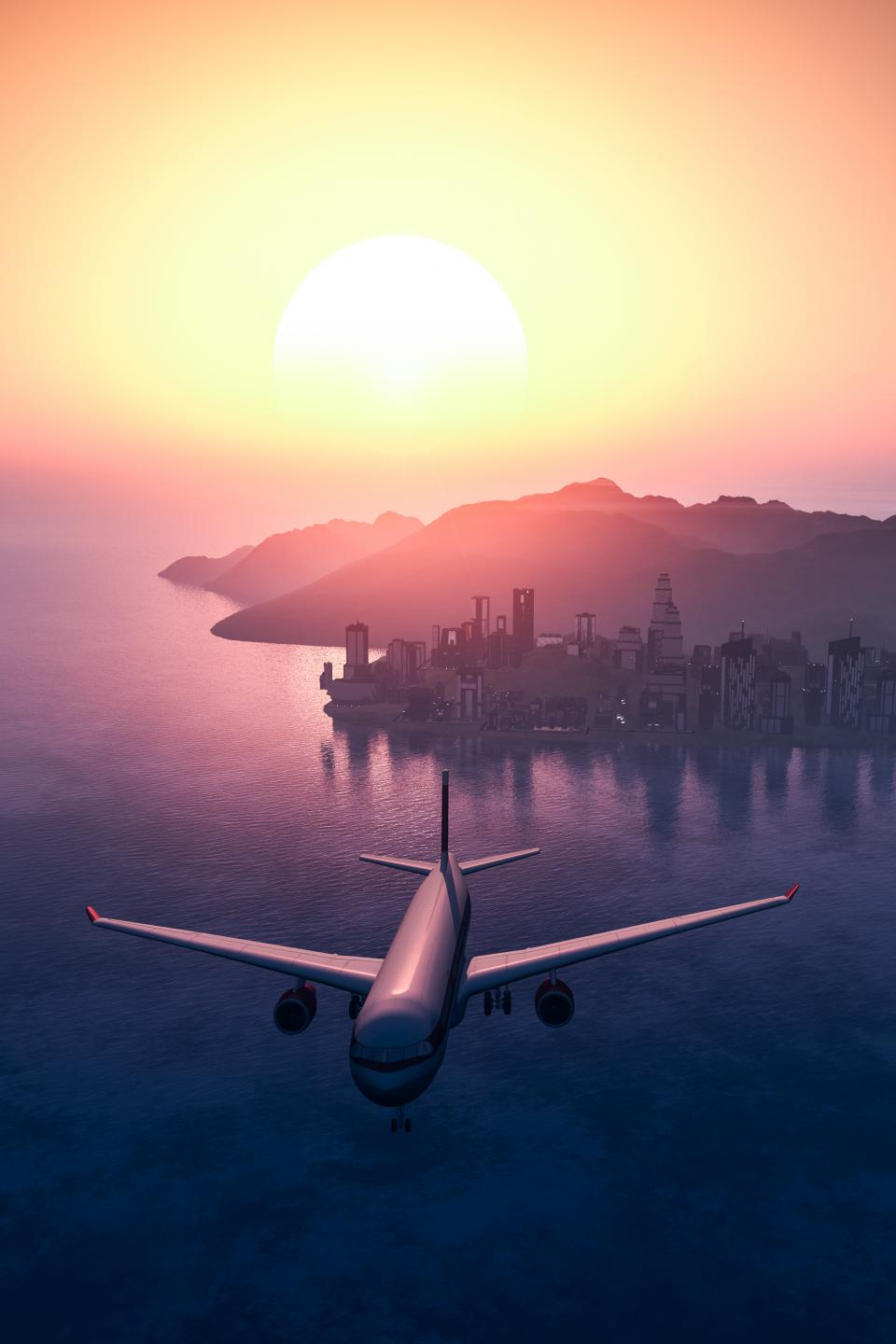 airplane, travel, adventure, plane, vacation, trip, transportation, vehicle, urban, city, sunset, water, ocean, sea, building, establishment