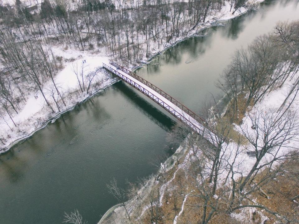 bridge, water, liquid, river, trees, snow, ice, cold, pine, people, man, children, family, reflection