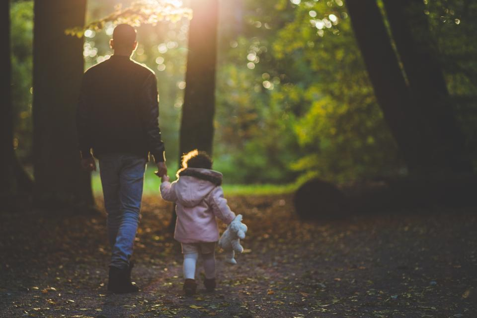 Apologise, but Dad with daughter walking