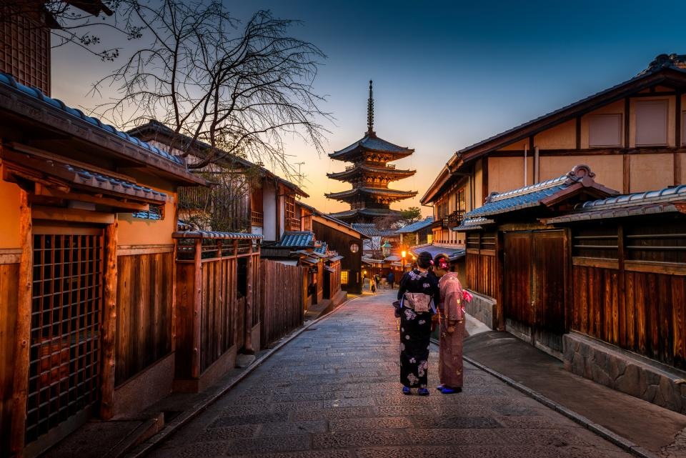 architecture, building, infrastructure, temple, people, women, walking, street, alley, asian