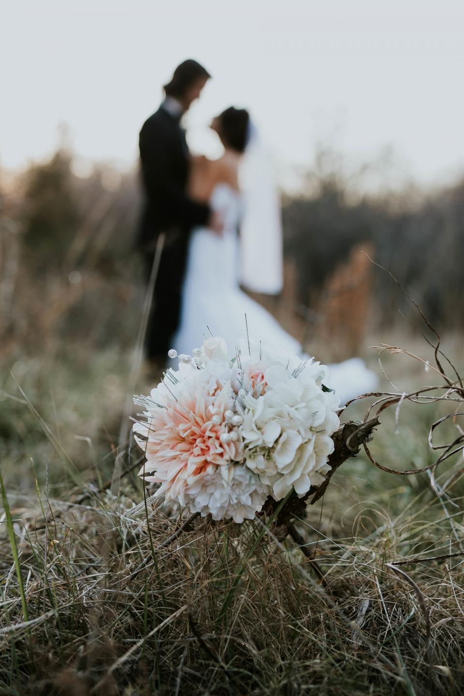 wedding, marriage, bride, flowers, bouquet, dress, ring, couple, people, man, woman, blur, autumn, fall, white, grass, sweet