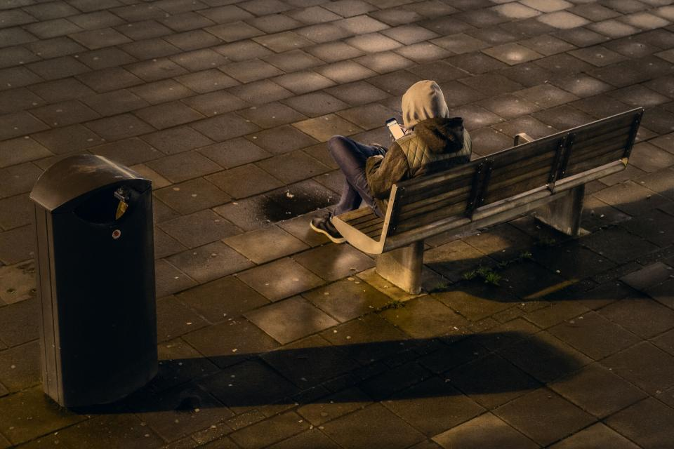 people, man, alone, sad, bench, chair, hoodie, jacket, cellphone, technology