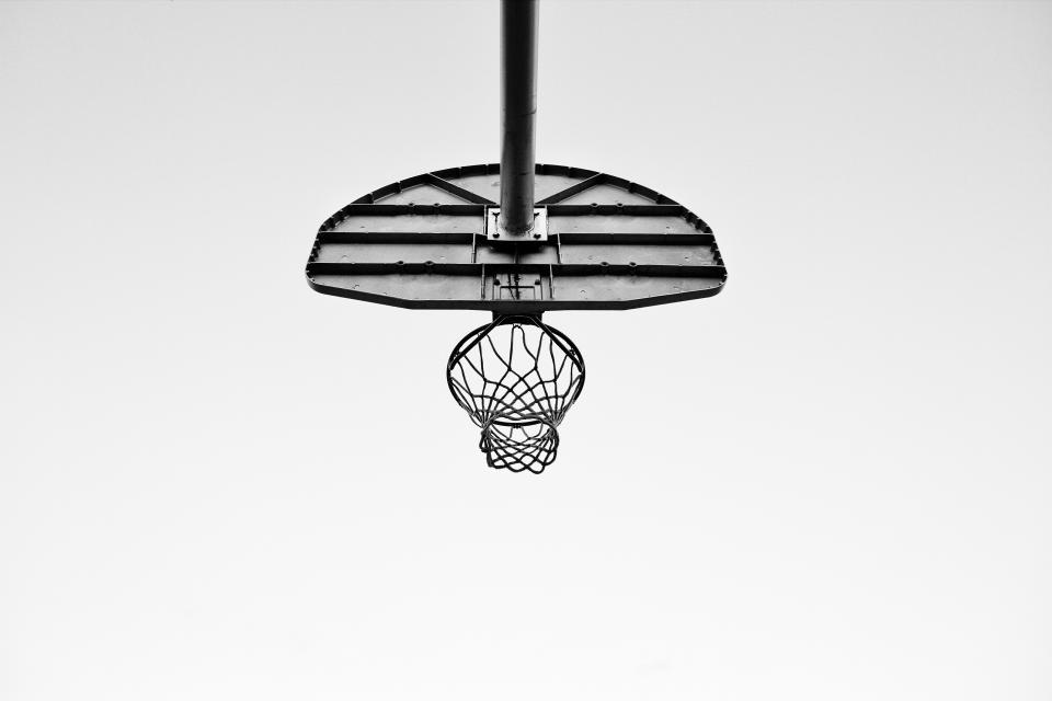 court, ring, sport, basketball, net, black and white, monochrome