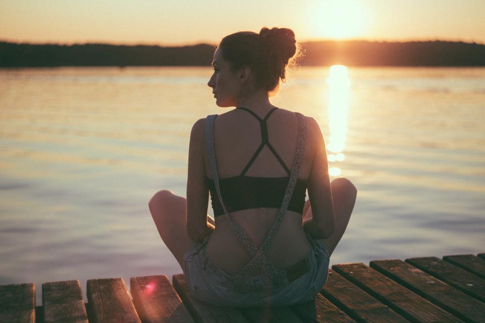 people, girl, beauty, meditation, health, relax, nature, ocean, sea, water, sunlight, sunset, sunshine, sunrise