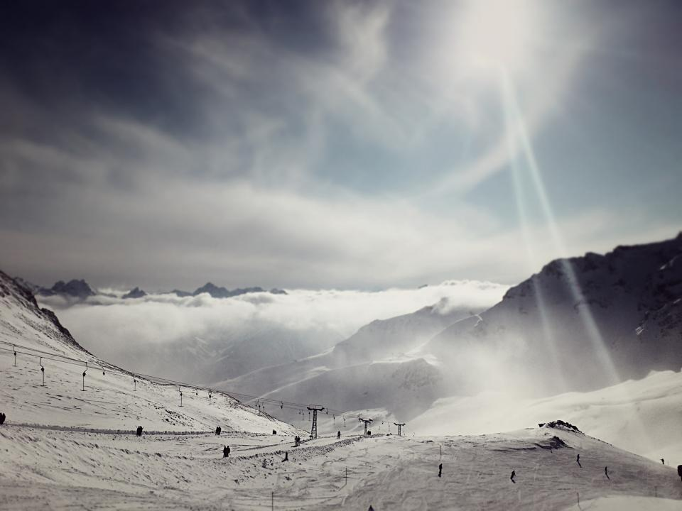 skiing, snowboarding, slopes, snow, winter, sports, mountains, hills, chair lift, runs, clouds, sky