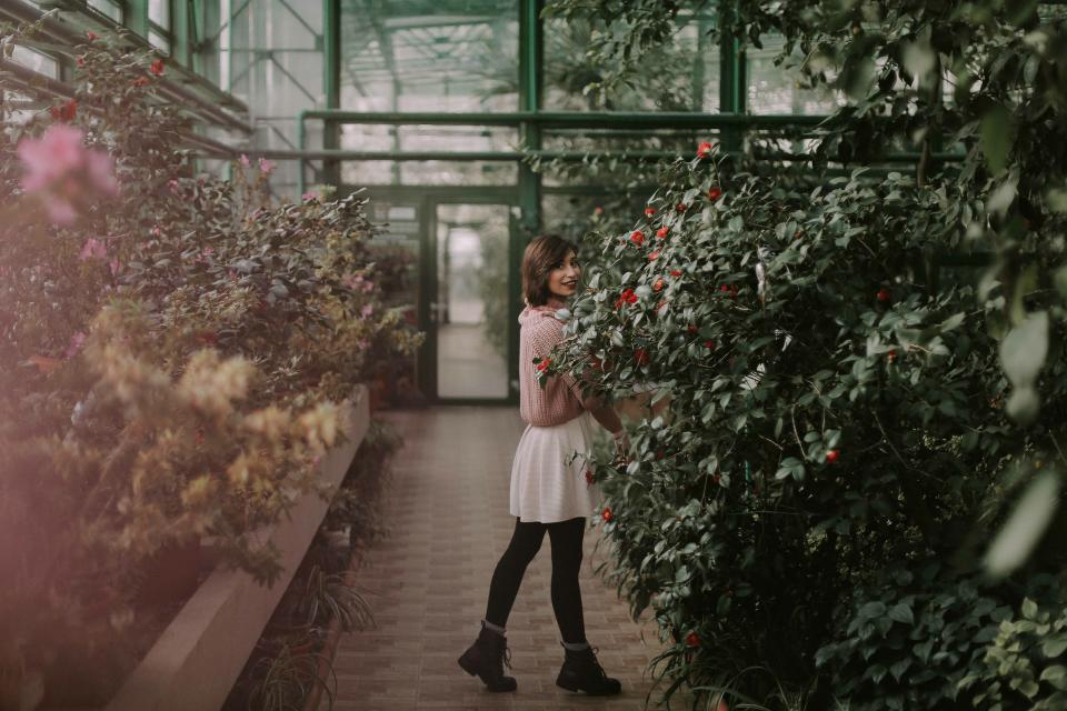 people, girl, woman, alone, fashion, clothing, nature, green, trees, plant, grass, outdoor, backyard