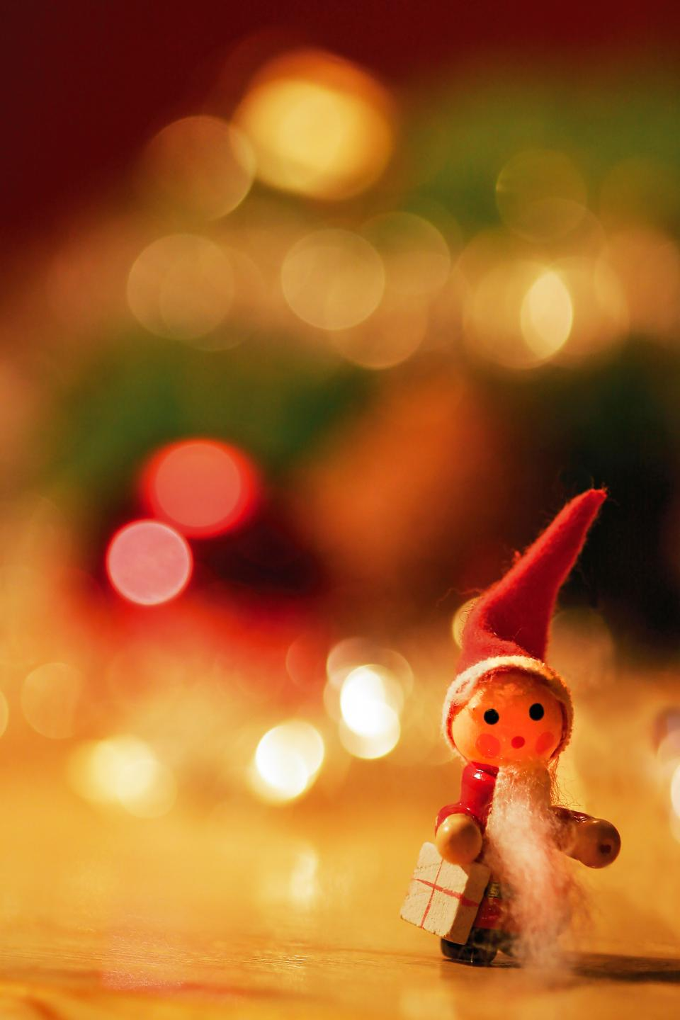 toy, christmas, holidays, tree, santa claus, gifts, bokeh