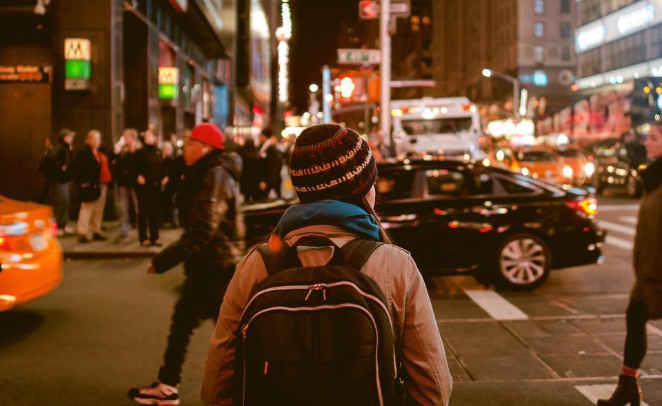 people, crowd, city, road, men, women, night, light, shopping, car, vehicle, transportation