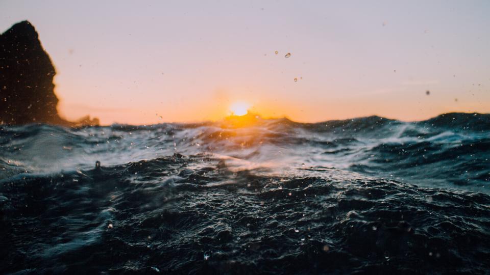 sea ocean water wave nature sunshine sunrise sky rocks