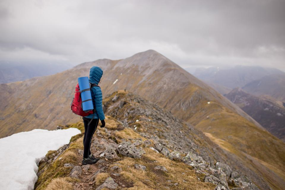 mountain, climbing, hiking, adventure, mountaineer, outdoor, sky, cloudy, dark, lansdcape, view, snow, winter, cold, people, woman