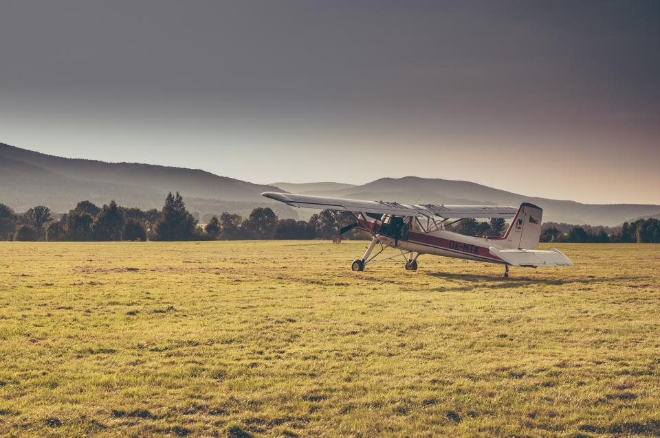 nature, landscape, green, grass, trees, forest, woods, mountain, fly, airplane, plane