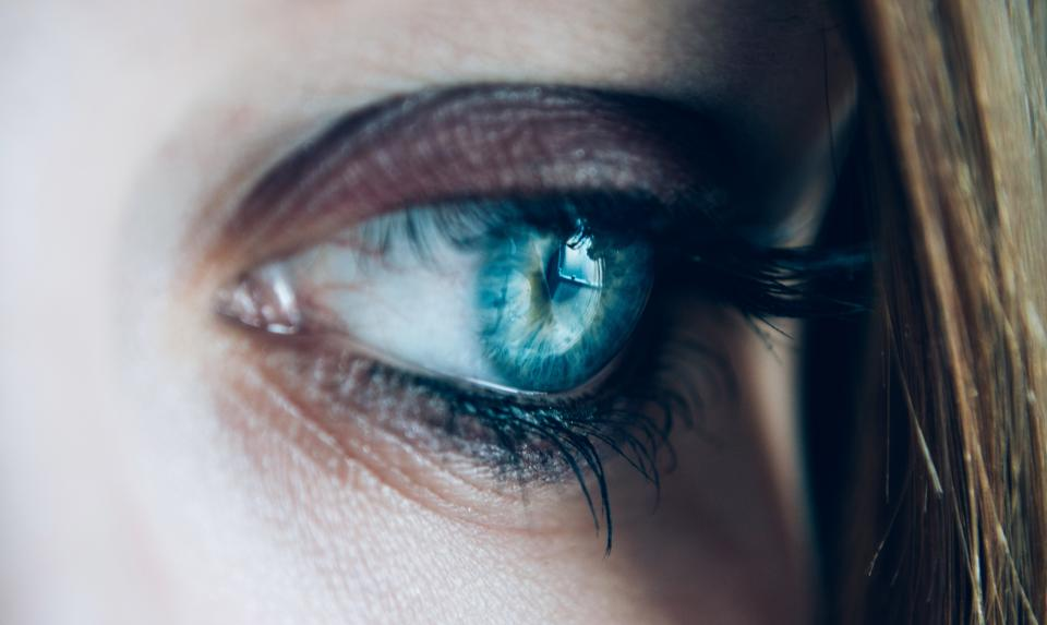 woman, girl, lady, people, head, anatomy, eye, iris, pupil, cornea, eyelashes, pores, hair, sad, thinking
