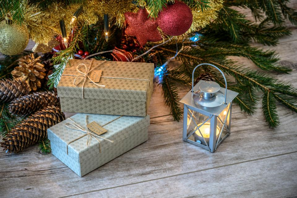 christmas, gift, box, trees, decor, ornaments, candle, light, lamp, design, holidays
