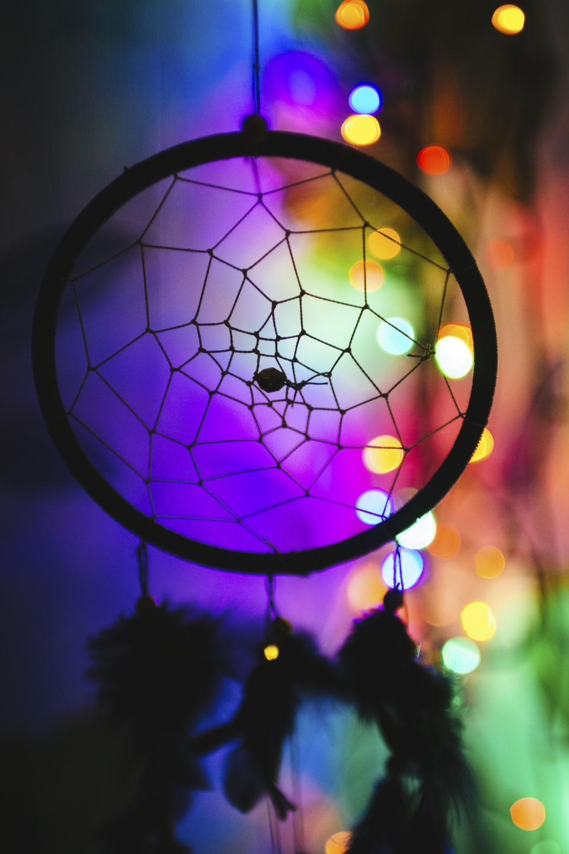 dreamcatcher art design dark night bokeh lights