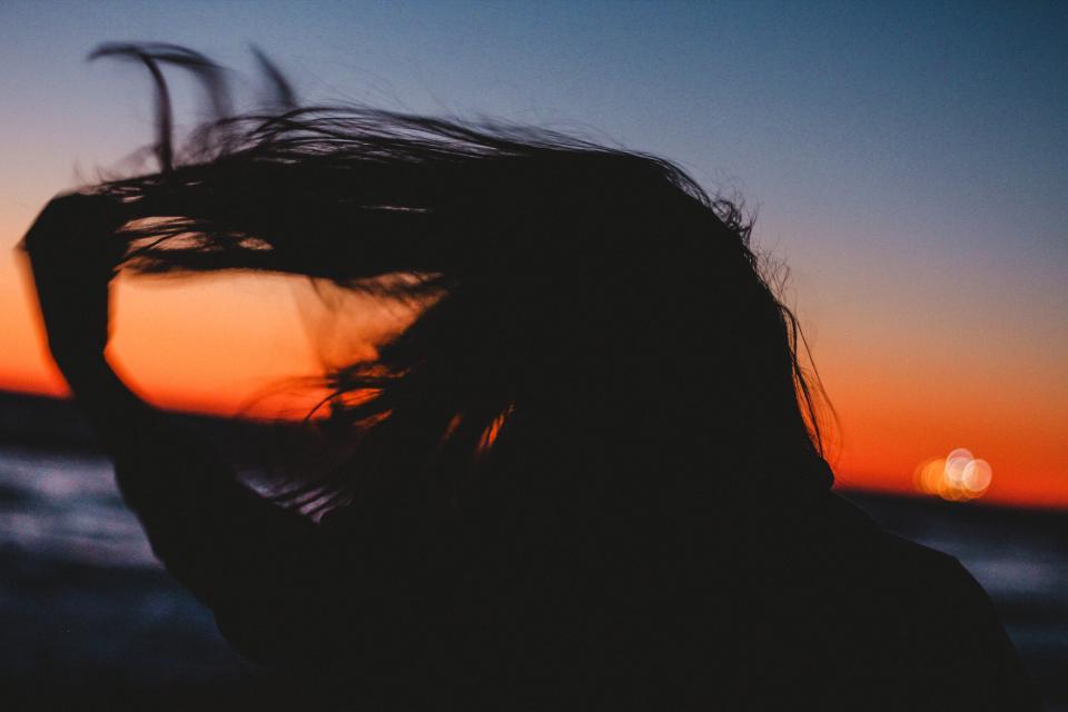 people woman hair shadow silhouette sunset beach ocean sea water travel happy adventure