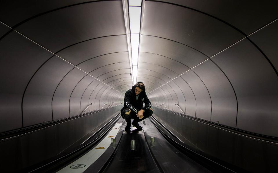 Black And White Tunnel People Man Guy Alone Light Walkalator