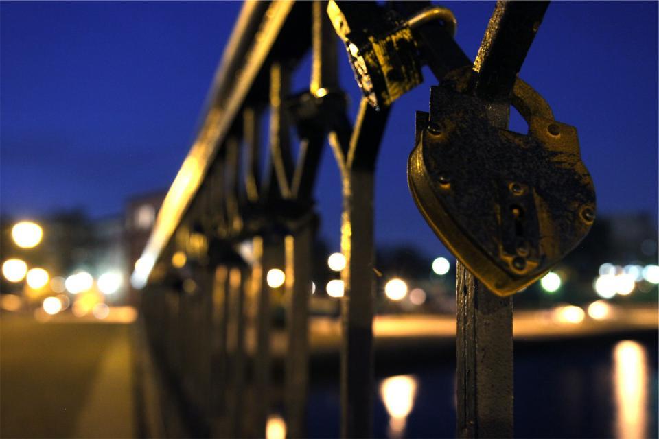 lock, railing, night, evening, dark