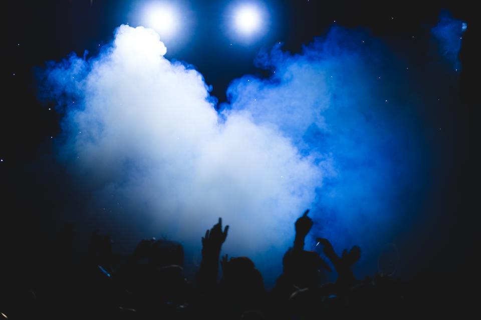 smoke, party, people, dark, night, celebration, concert, bar