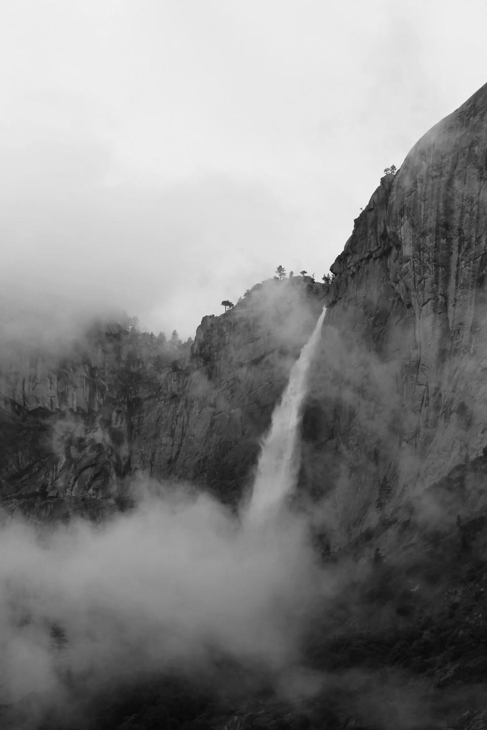 waterfalls, nature, landscape, mountain, trees, plants, hill, cliff, sky, black and white