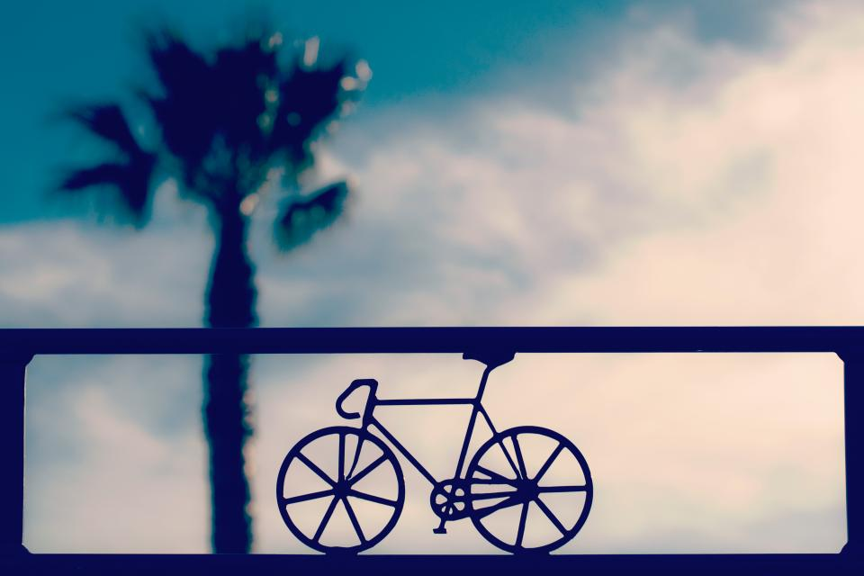 bike, bicycle, triangular, shape, wheel, blur, sky, clouds, tree, plant, nature