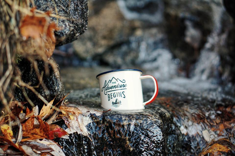 cup mug logo rock water leaf fall river water