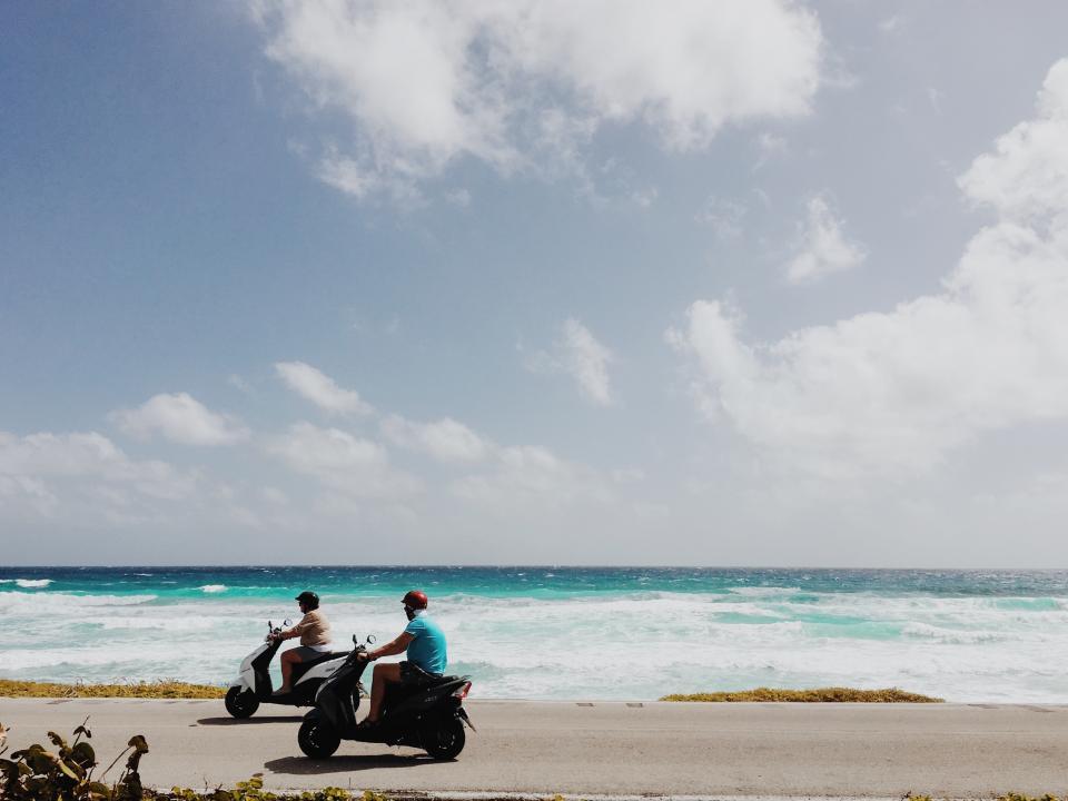 motorcycle, men, guys, sea, waves, nature, clouds, sky, road, adventure, travel