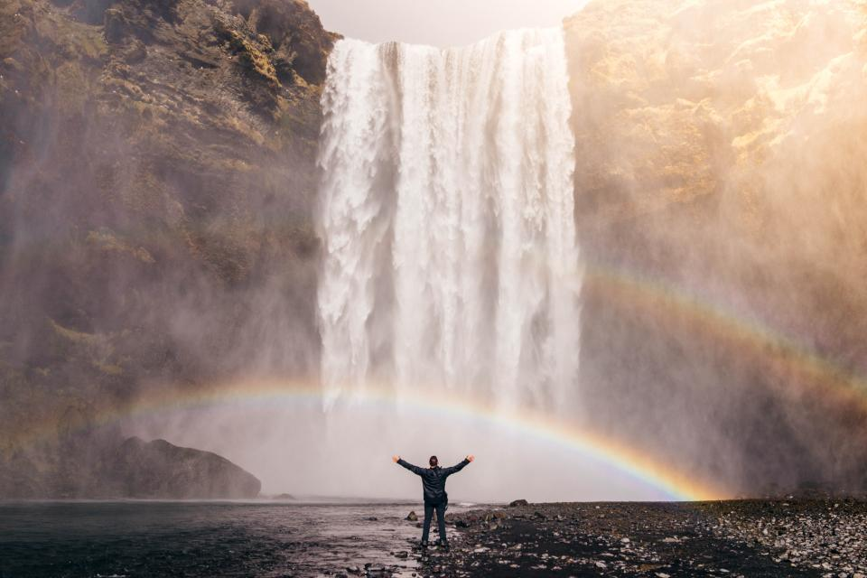 people, man, happy, enjoy, freedom, nature, travel, adventure, rainbow, water, falls