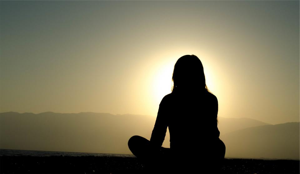 sunset dusk silhouette shadow girl woman people meditating sky