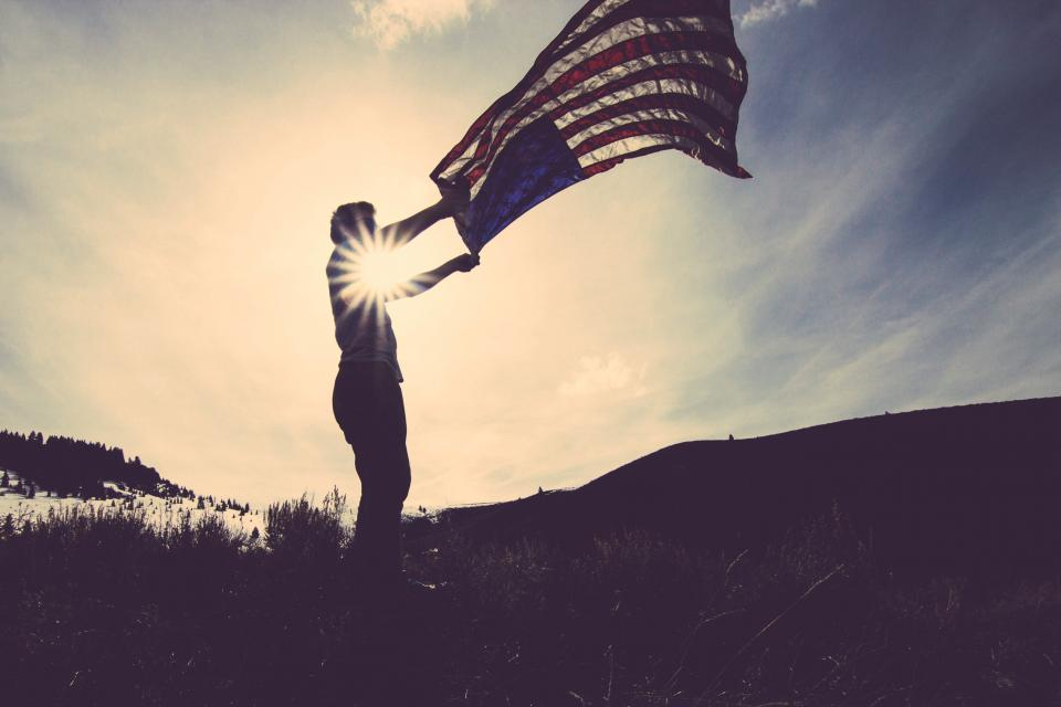 american, flag, usa, united states, sunset, sky, man, guy, waving, dusk, dark, shadow