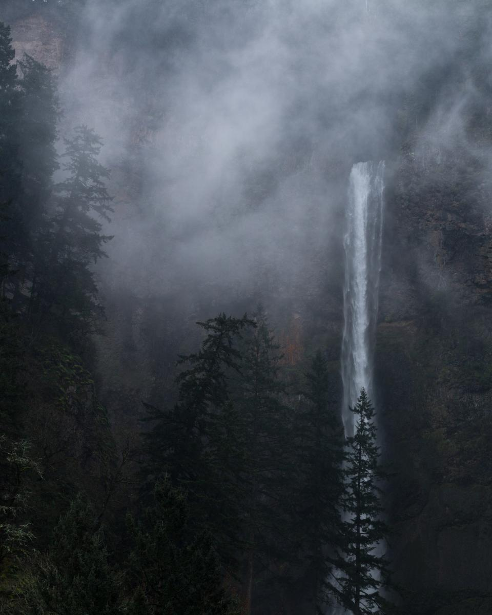 nature, water, waterfalls, altitude, forests, trees, mountains, rocks, fog