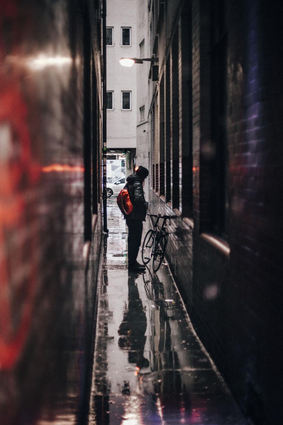 people, man, alone, alley, sad, rain, bicycle, bike, architecture, building, apartment