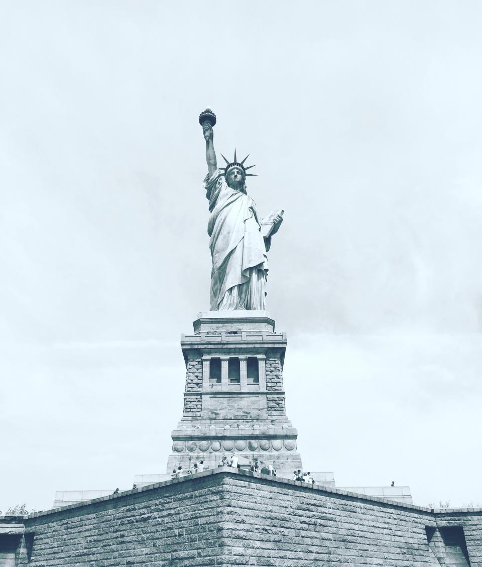 liberty, statue, blue, sky, clouds, sculpture, usa, wall, people, park, tourist, destination