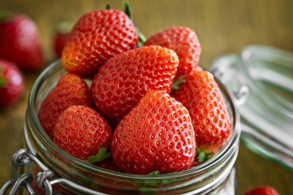 red, fruit, strawberry, glass, jar, desserts, food, fresh, health