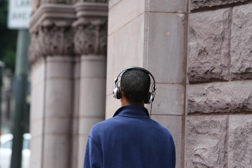 guy man people headphones city urban