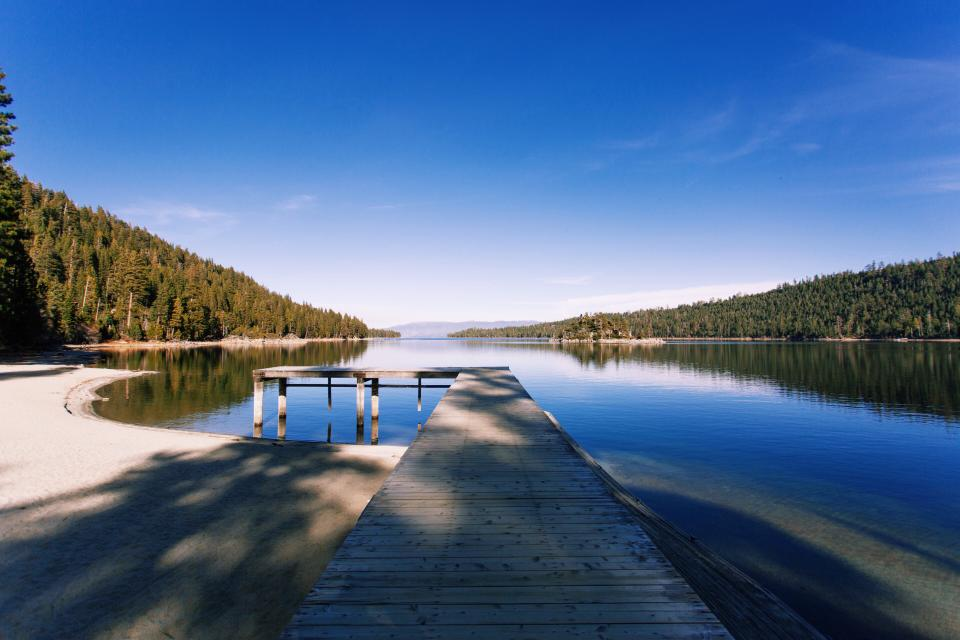 water, lake, liquid, wooden, pine, tree, forest, mountain, sky, clouds, sunlight, shadow, nature