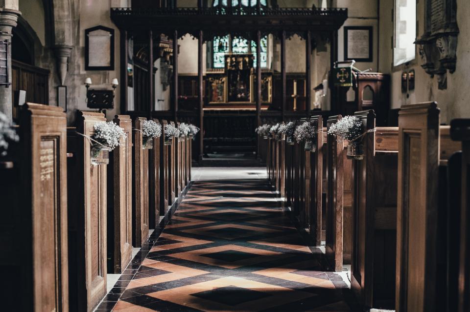 church, pews, religion, Christian, Catholic, aisle