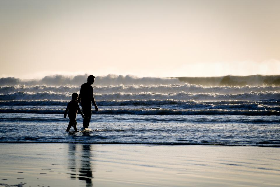 people, man, boy, kid, child, father, son, swimming, sea, water, ocean, beach, coast, chore