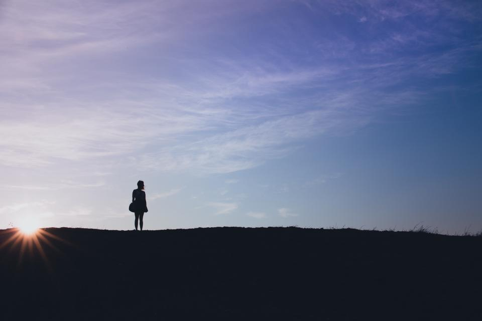 girl woman silhouette sunset dusk blue sky people nature landscape