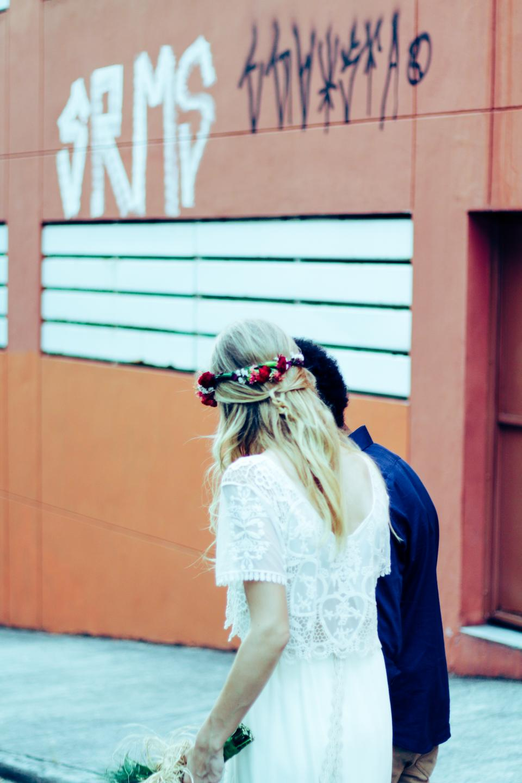 people, girl, white, dress, walking, man, guy, flower, bouquet, wedding