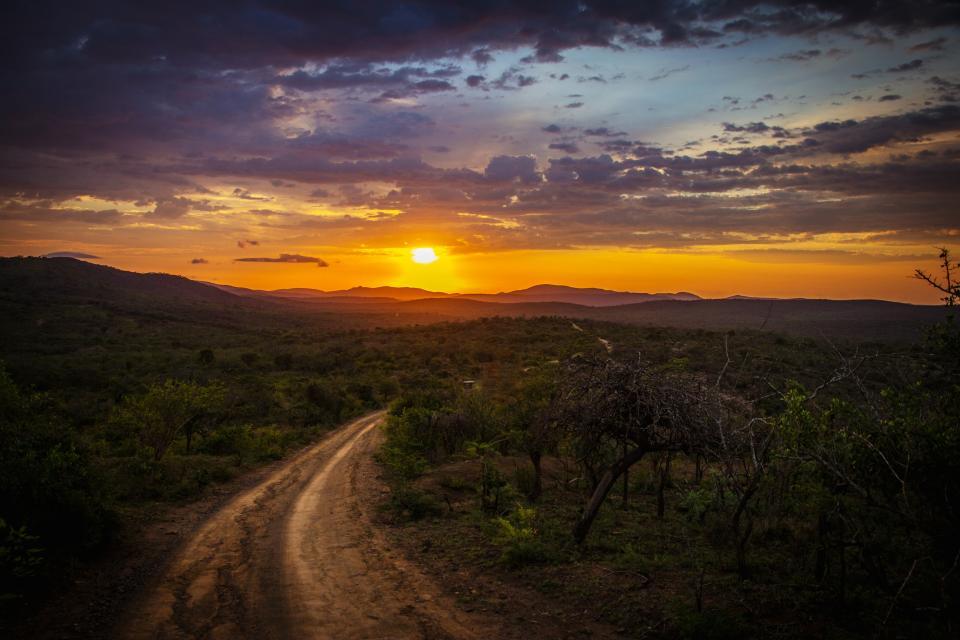 nature roads paths dirt soil bushes plants grass view mountains sky clouds fog horizon dusk dawn sun peek gradient wondrous majestic