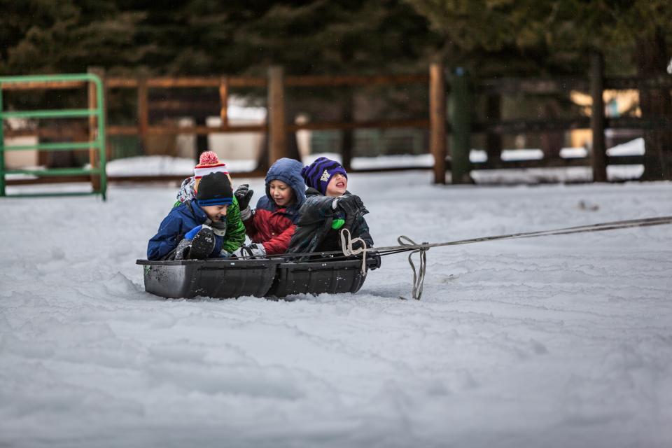 人々子供子供たち男の子遊び雪冬寒い屋外の冒険