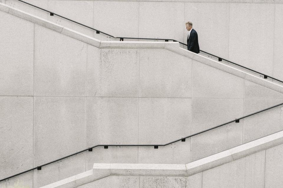 people, man, formal, stairs, alone, white, plain, fashion