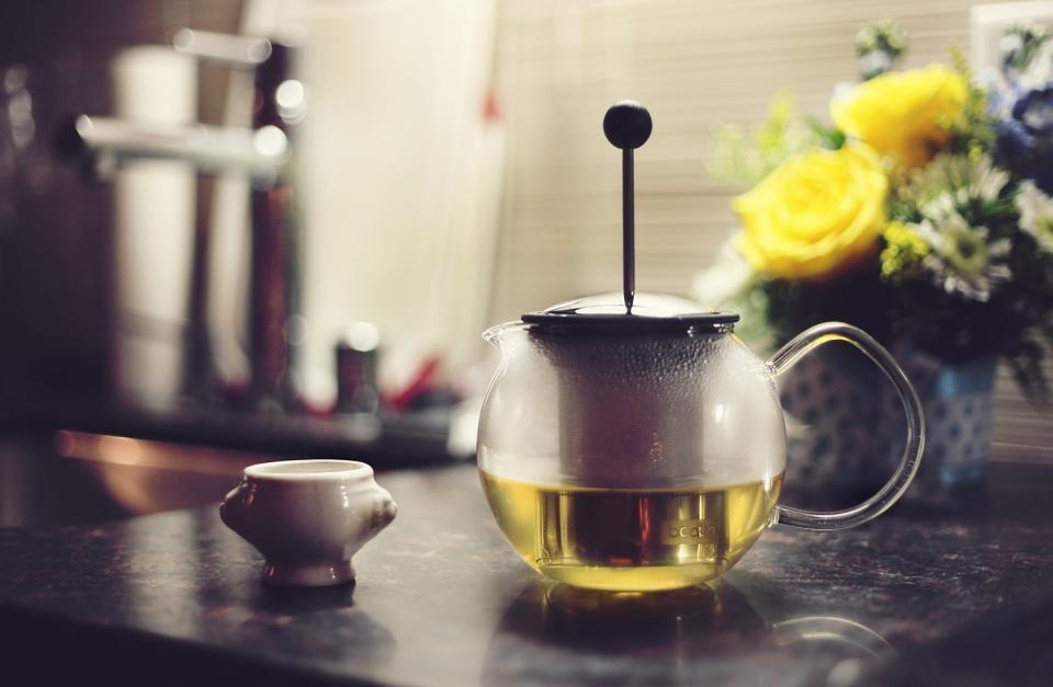 green tea press flowers kitchen drink beverage pot cup counter