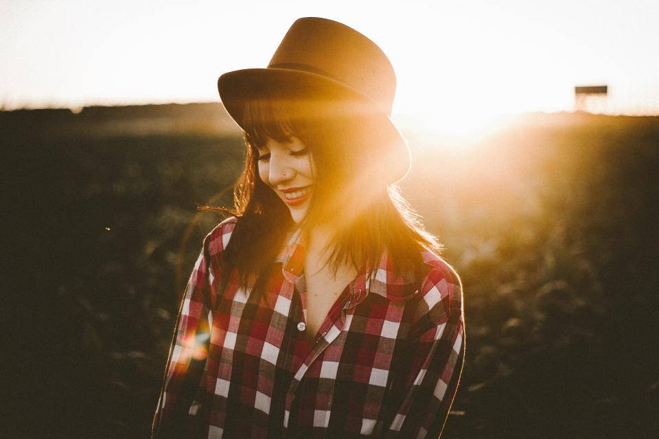 outdoor nature sunlight sunrise sunset sunshine people woman girl female hat smile happy