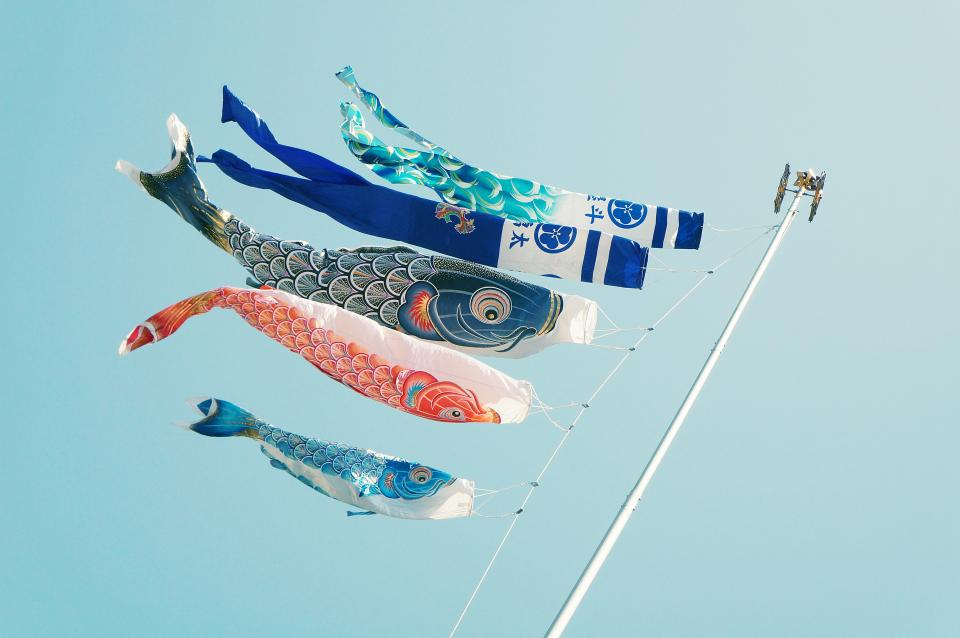 still items things kites banners koi graphic design pole sky blue