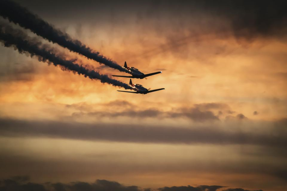 nature, landscape, airplane, clouds, sky, smoke, aircraft, military