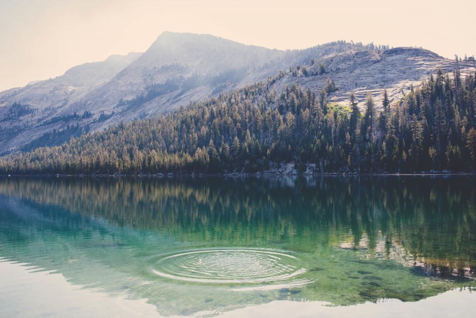 mountain, valley, landscape, nature, trees, plants, sky, sunlight, sunny, sunrise, lake, water, reflection