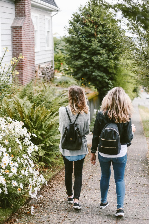 people, friends, girls, walking, house, tree, flowers, green, grass, street, nature