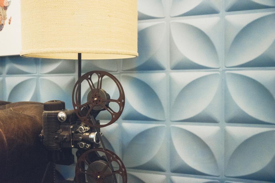 vintage film equipment cinema belt lamp shade