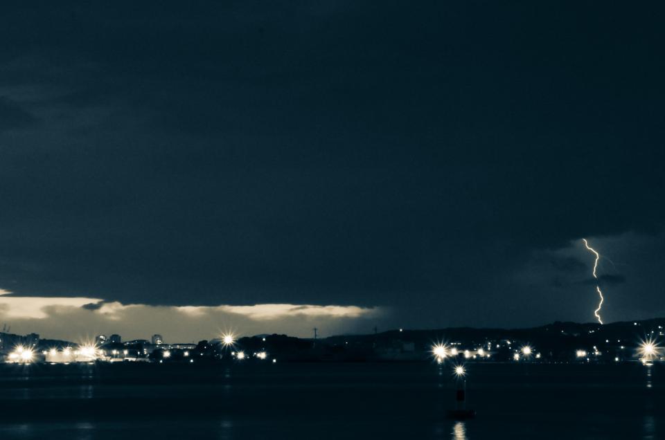 dark, storm, lightning, clouds, lights, thunder